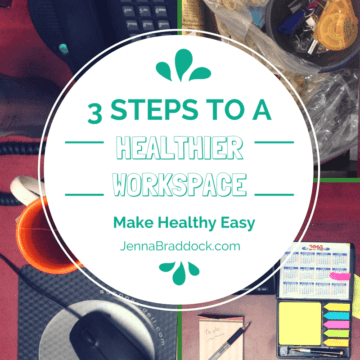 The place where you daily sit and work could be affecting your weight. Here's how to set up a healthy work space in 3 easy steps. #MakeHealthyEasy | @JBraddockRD