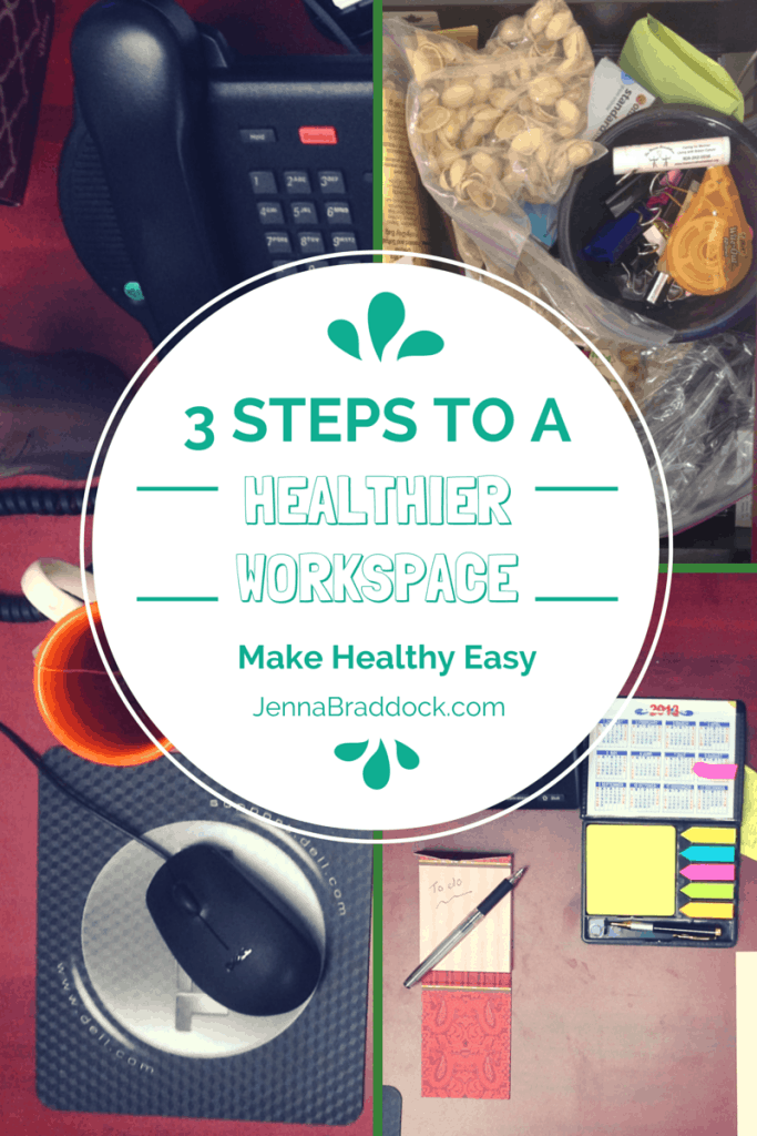 The place where you daily sit and work could be affecting your weight. Here's how to set up a healthier work space in 3 easy steps. #MakeHealthyEasy | @JBraddockRD