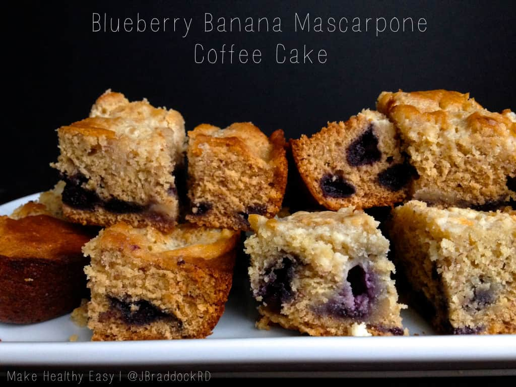 Blueberry Banana Mascarpone Coffee Cake - Blueberries and banana unexpectedly come together in this lightly sweet coffee cake. #MakeHealthyEasy via @JBraddockRD