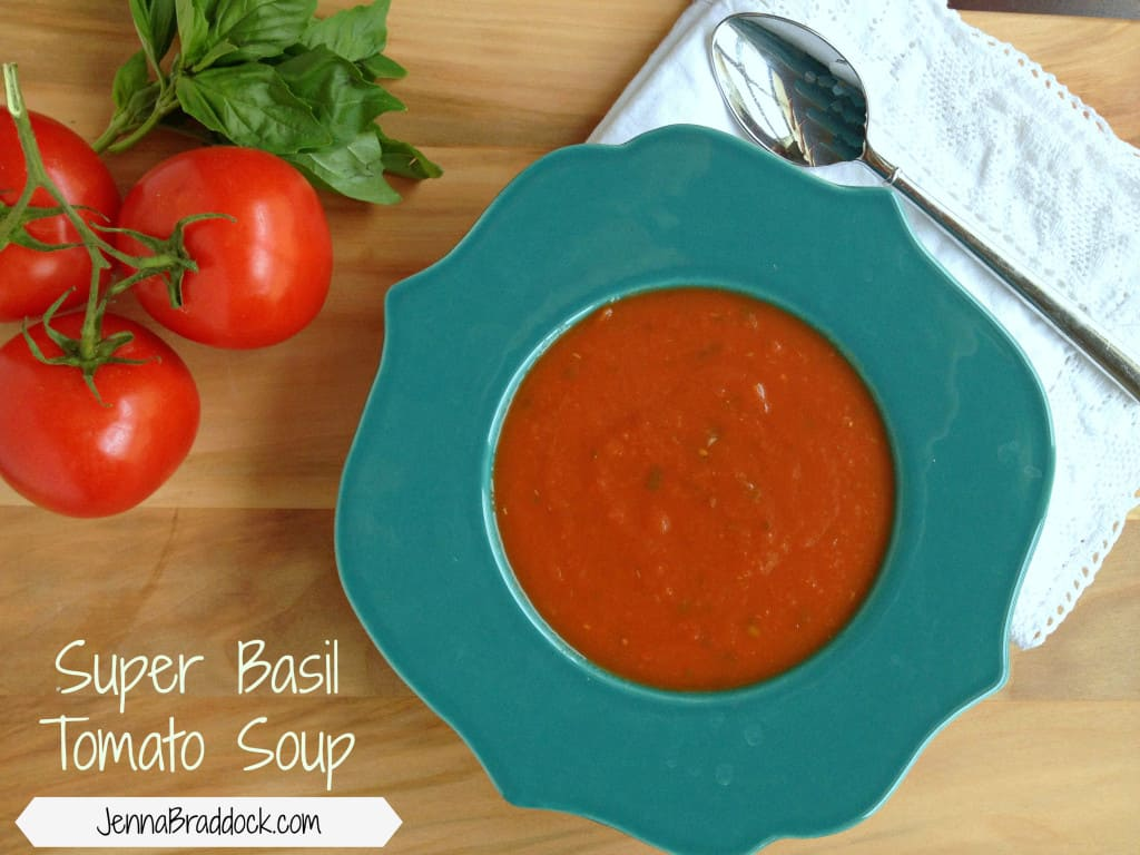 "Super Basil Tomato Soup - This easy and quick tomato soup is perfect for a weeknight dinner or rainy night. It's loaded with fresh basil and therefore full of ""super power"" too."