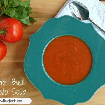 """Super Basil Tomato Soup - This easy and quick tomato soup is perfect for a weeknight dinner or rainy night. It's loaded with fresh basil and therefore full of """"super power"""" too."""