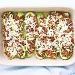 Sausage & Quinoa Stuffed Zucchini
