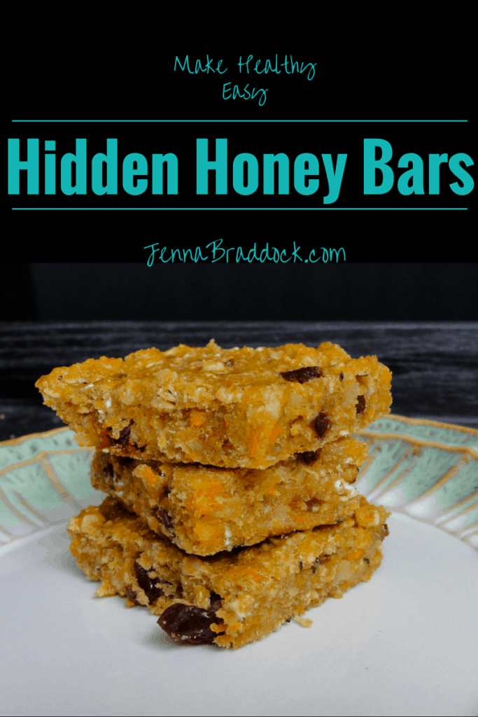 Hidden Honey Bars - Looking for a homemade snack bar that's yummy and healthy? Try these simple snacks bars made with whole grains, honey, and hidden veggies. They are perfect for kiddos and big people too. #MakeHealthyEasy | @JBraddockRD  http://jennabraddock.com/hidden-honey-bars/