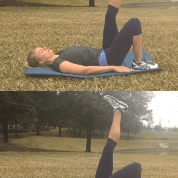 #WorkoutWednesday is a bi-monthly post on #MakeHealthyEasy that highlights a simple way to make fitness a part of your everyday life. Single leg hip bridges are an important exercise to build strength in your lower back, butt, and hips. via @JBraddockRD www.JennaBraddock.com #fitness #WOD #fitfluential