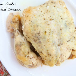 "How to roast chicken in the slow cooker: Delicious roasted chicken can be time consuming to make, but not anymore with this simple preparation in the slow cooker. Cook a whole chicken throughout the day, enjoy it for dinner that night and put the leftovers to use later in the week. This Slow Cooker ""Roasted"" Chicken is sure to become one of your go-to weekday meals. #MakeHealthyEasy via @Jbraddockrd"