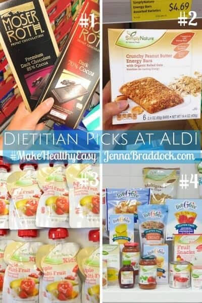 If you are looking to eat healthy and save money on groceries, ALDI is the place for you to shop. Get the list of all my dietitian picks at ALDI here. #MakeHealthyEasy via @JBraddockRD https://jennabraddock.com