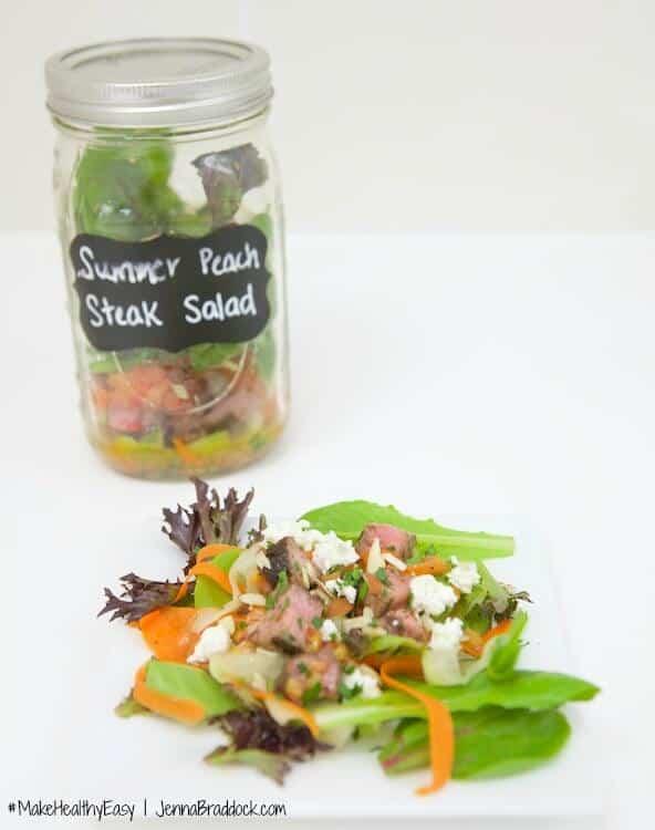 ALDI Test kitchen: Summer peach salad. #MakeHealthyEasy via @JBraddockRD  http://JennaBraddock.com