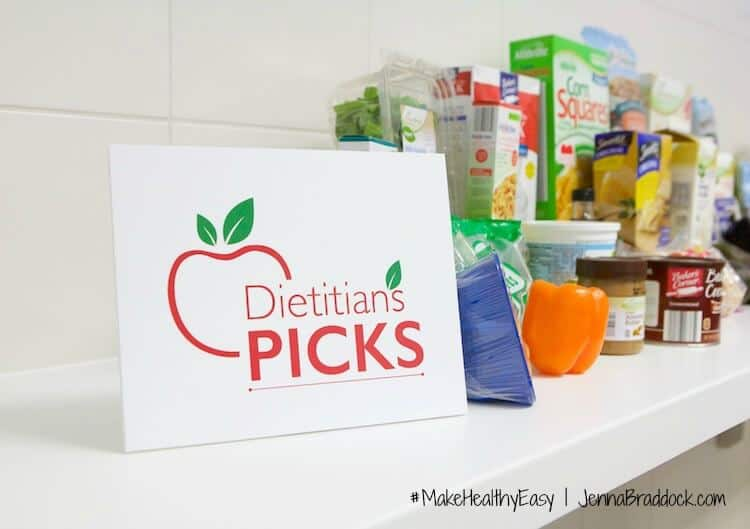 The new signs to look for at ALDI stores is this Dietitian Picks sign. Learn more about on #MakeHealthyEasy via @JBraddockRD. http://jennabraddock.com