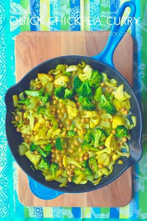 This Quick Chickpea Curry is easy to make any night of the week. It's packed with veggies and has an extra kick of turmeric for added antioxidants. It's easy to use any vegetables you have on hand. #MakeHealthyEasy via @JBraddockRD http://JennaBraddock.com