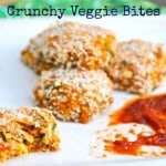 These vegetarian Crunchy Veggie Bites are packed with veggies but have a friendly flavor toddlers will love. There a good source of protein too. #MakeHealthyEasy via @JBraddockRD https://jennabraddock.com