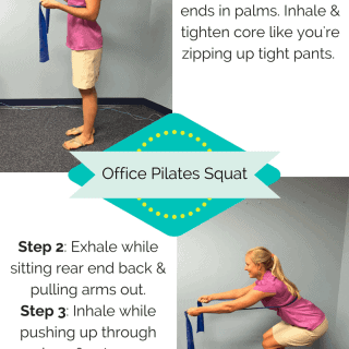 If you're stuck sitting at your desk all day, everyday, then try this easy office friendly pilates exercise that you can do right at your work desk. #MakeHealthyEasy #WorkoutWednesday via @JBraddockRD http://JennaBraddock.com
