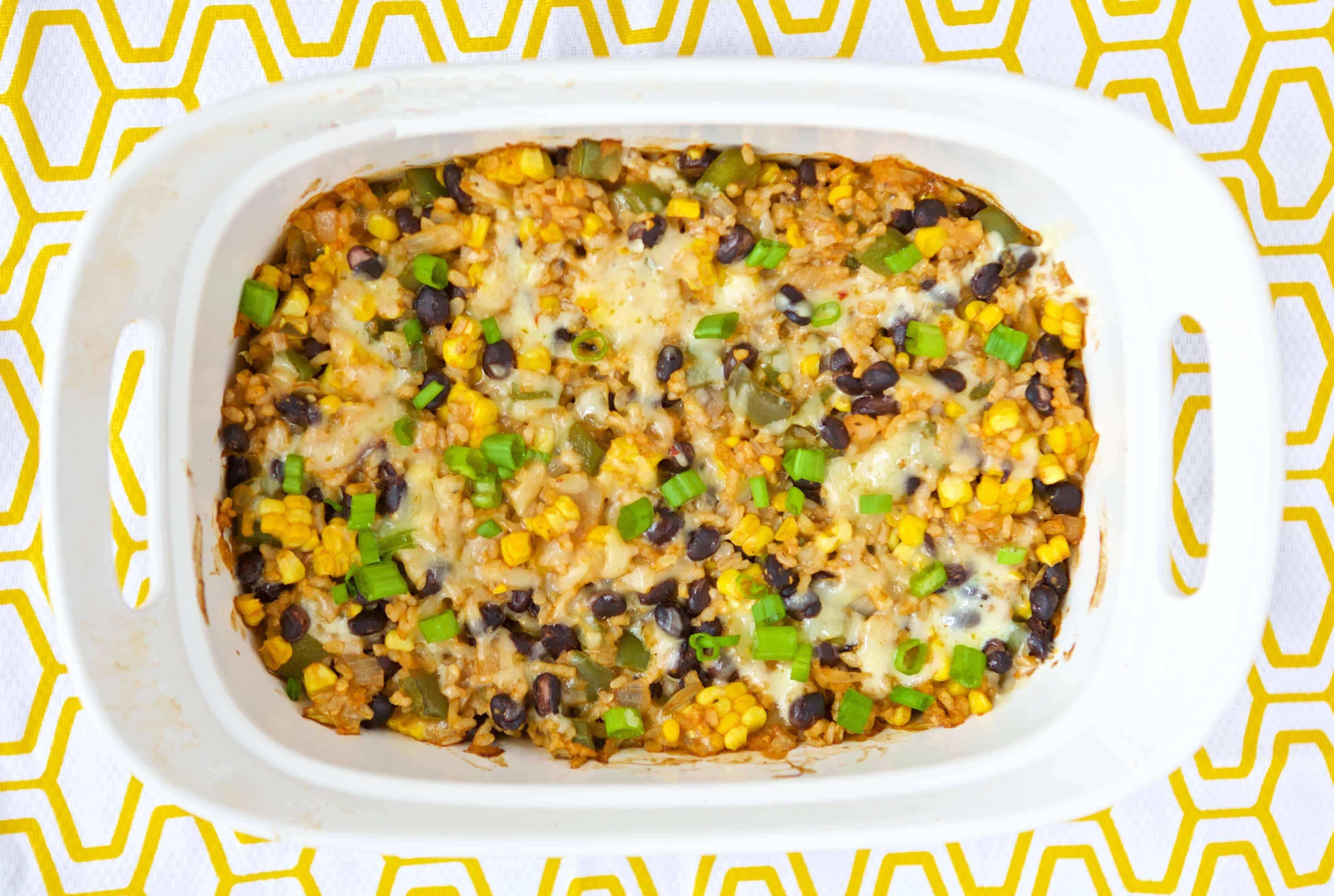 Vegetarian Rice and Bean Casserole overhead