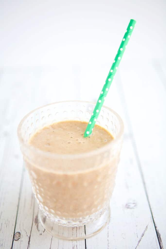 Soymilk, avocado, cocoa and shot of coffee create this Chocolate Pick Me Up Smoothie, a satisfying afternoon snack option full of nutrition. #MakeHealthyEasy via @JBraddockRD http://JennaBraddock.com