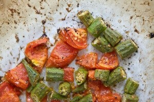 If you think you don't like okra, think again. This easy Roasted Okra & Tomatoes recipe transforms the humble southern vegetable into a non-slimy vegetable treat. #MakeHealthyEasy via @JBraddockRD http://JennaBraddock.com