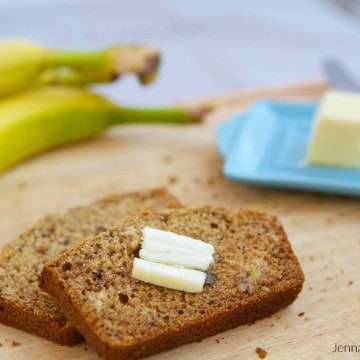 Whole Wheat Banana Nut Bread Recipe - the perfect way to use up ripe bananas, get healthy nuts into your diet, and not need your stretchy pants afterwards. #MakeHealthyEasy via @JBraddockRD http://JennaBraddock.com