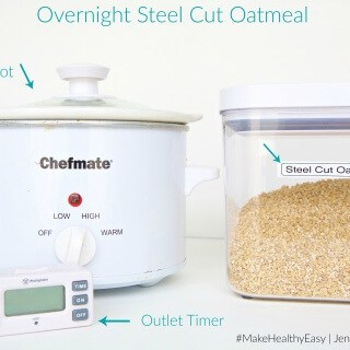 Try this easy method for Overnight Steel Cut Oatmeal that will have your breakfast ready the moment you wake up in the morning. #MakeHealthyEasy via @JBraddockRD http://JennaBraddock.com