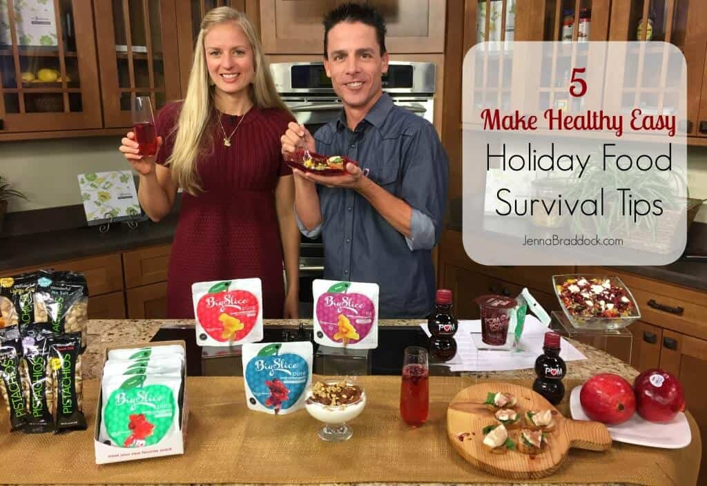 The holidays are a tricky time to stay on track with healthy eating, but these 5 Make Healthy Easy holiday food survival tips (and recipes) will help you come out on top. via @JBraddockRD http://JennaBraddock.com