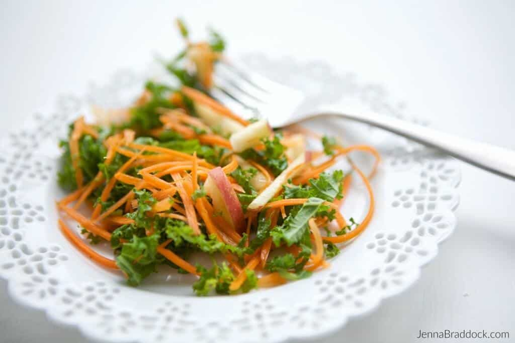 This Kale, Apple & Carrot Salad with Apple Cider Vinegar Honey Dressing is super simple to make and kid friendly. It is a tasty way to help your family enjoy raw veggies and receive the benefits of raw apple cider vinegar. #MakeHealthyEasy