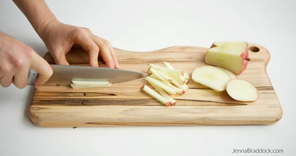 How to julienne cut apples for Kale, Apple & Carrot Salad. #MakeHealthyEasy