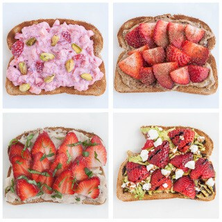 Quick and easy Strawberry Toast 4 Ways