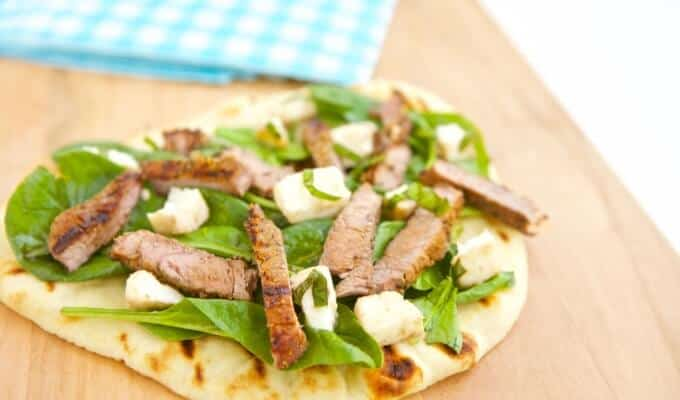 Grilled Steak and Mozzarella Flatbread