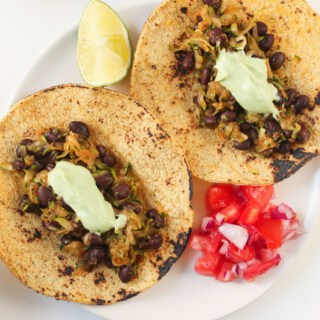 Zucchini Black Bean Tacos with Avocado Crema by The Foodie Dietitian