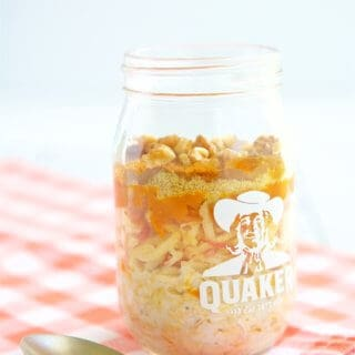 Get excited for fall with this simple, delicious and healthy Pumpkin Apple Overnight Oats recipe.