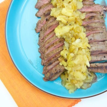 Celebrate fall flavors with this insanely delicious Oktoberfest Flank Steak with Apple Cider Chutney. This is a simple recipe to prepare that will have you in the fall Oktoberfest spirit!