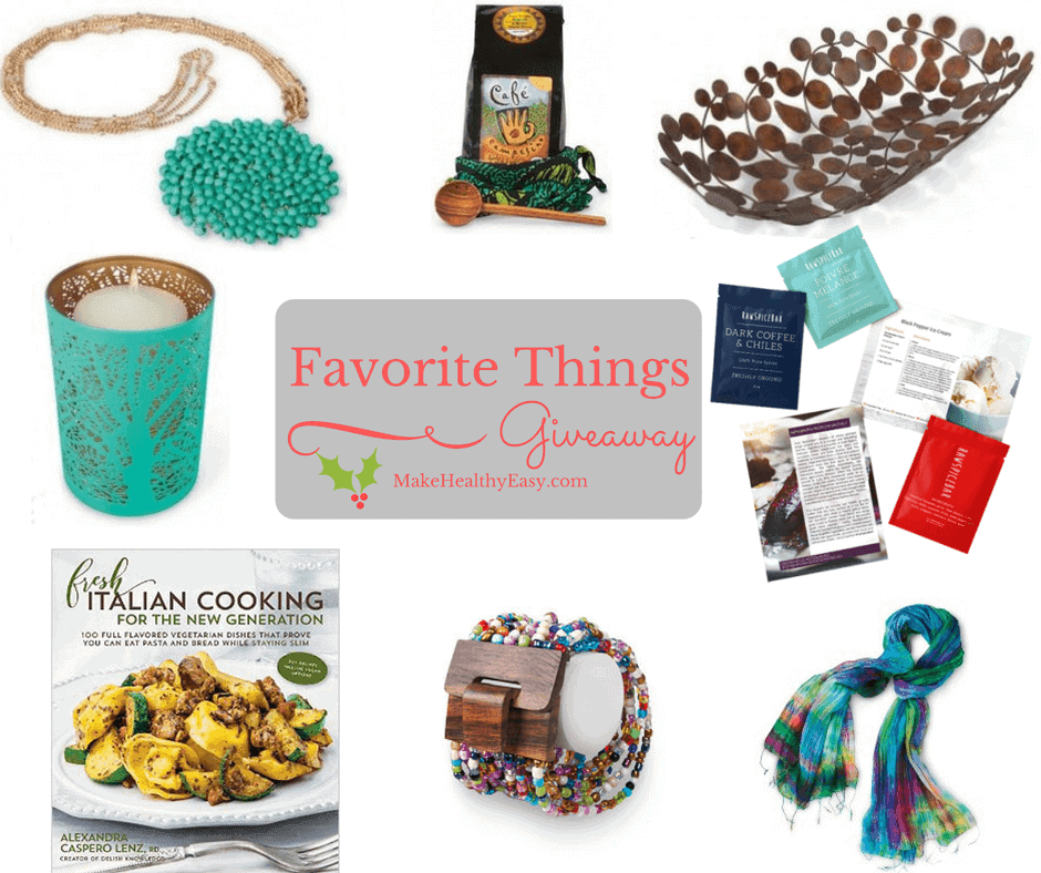 Enter to win a big prize pack from this Favorite Things Giveaway on Make Healthy Easy, plus easily link up to 14 other giveaways.