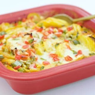 Lighten up a favorite holiday dish with this full flavor, better for you, Pesto Potato Gratin recipe. It's perfect for the holidays or any time of the year.