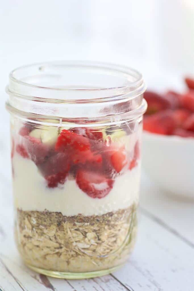 Strawberry Vanilla Overnight Oats are easy to make ahead and delicious to enjoy for any meal on the go. These oats are filling thanks to the fiber and protein in Greek yogurt.