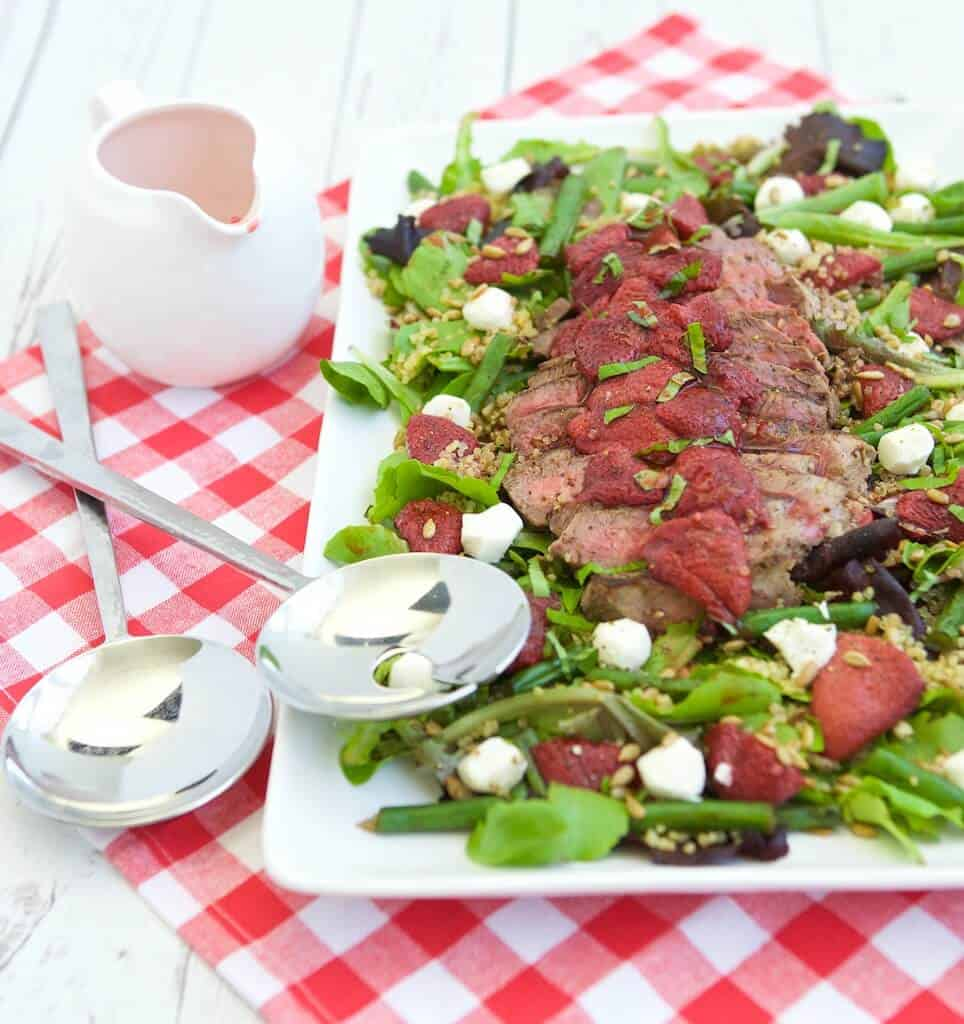 This unique salad pairs bold-flavored steak with the naturally sweet, roasted strawberries to create a surprising combinations. Layering a lean steak on top of a mound of nutrient rich ingredients is a balanced way to enjoy it any day of year.