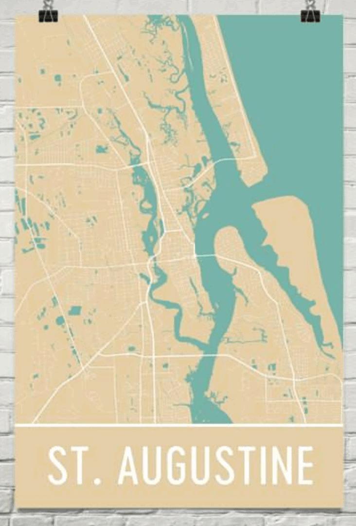 Modern Map Art St. Augustine map