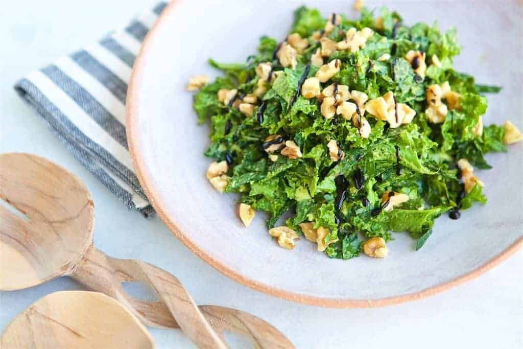 "Raw kale is quickly transformed in to a delicious, fresh salad by adding creamy avocados and sweet balsamic vinegar to the party. Try this easy Avocado Kale Salad and you'll have everyone shouting ""Kale Yes!"""