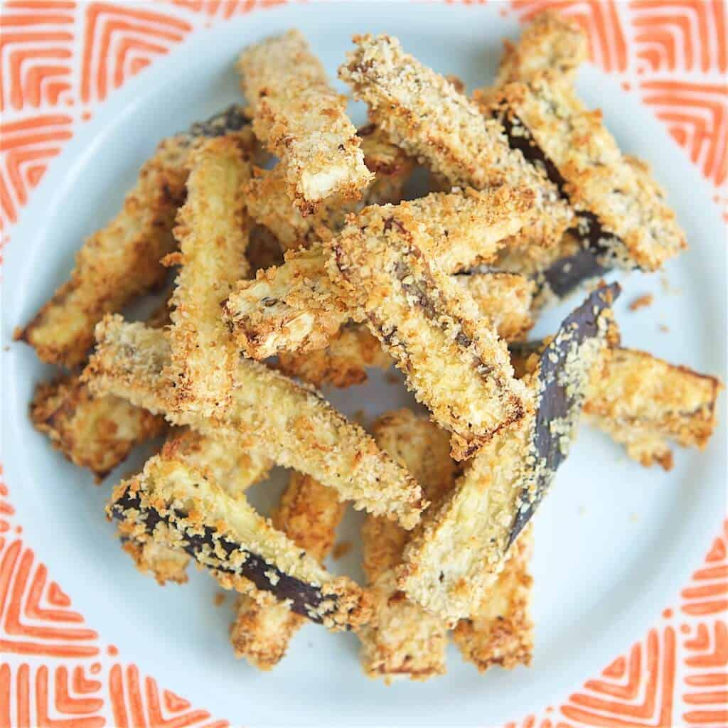 If you are searching for healthy, tasty or roasted eggplant recipes, you have come to the right place! This family friendly Crunchy Roasted Eggplant Fries recipe is a great way to use up or introduce your family to eggplant.