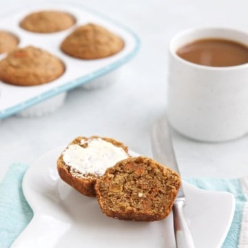 morning glory veggie muffins served with coffee