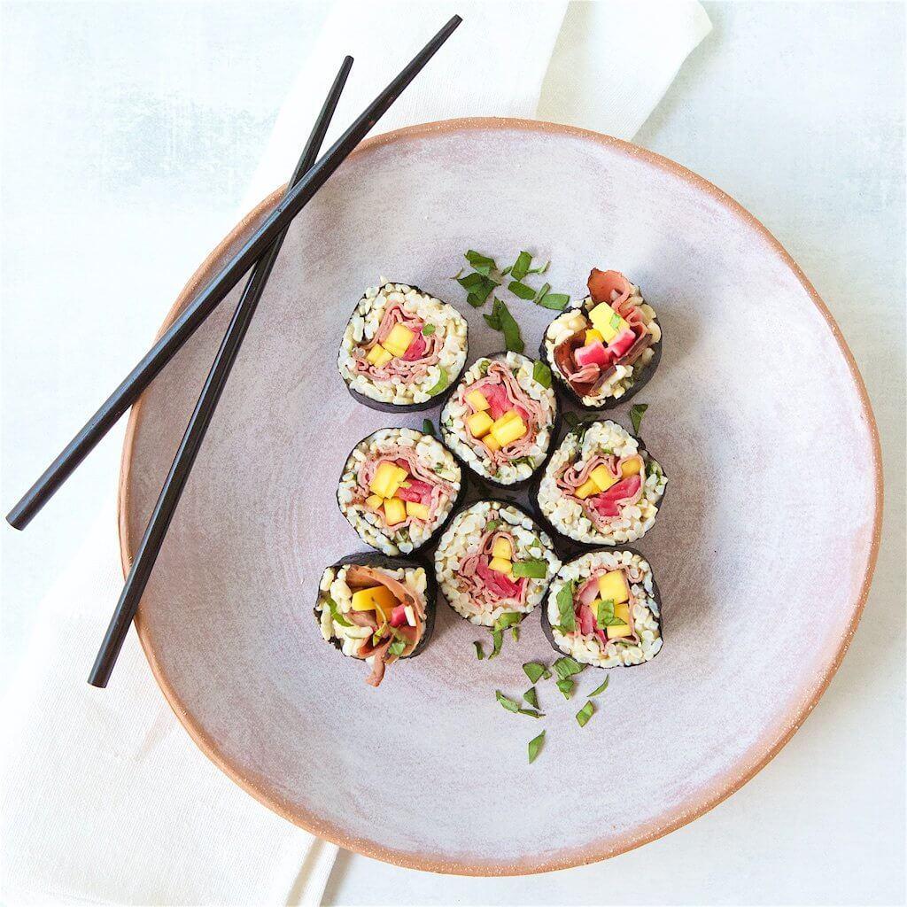 Mango Basil Beef Sushi Roll