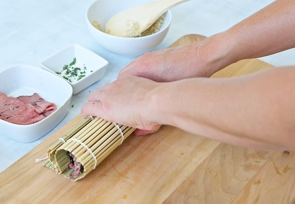 Rolling a suchi roll
