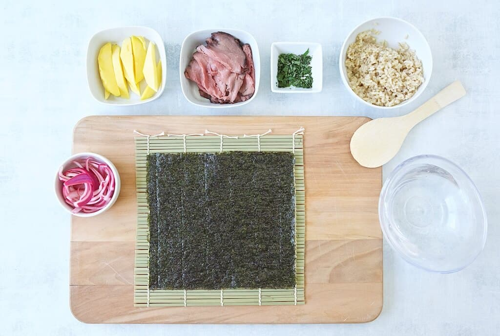 Mango basil beef sushi ingredients