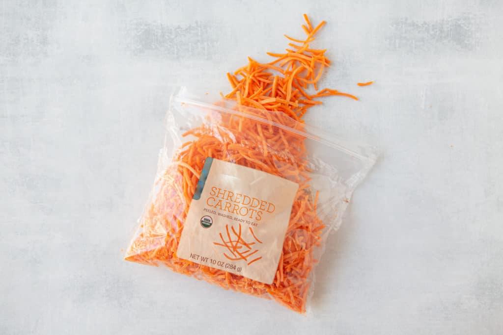 healthy hacks for plant based eating - shredded carrots