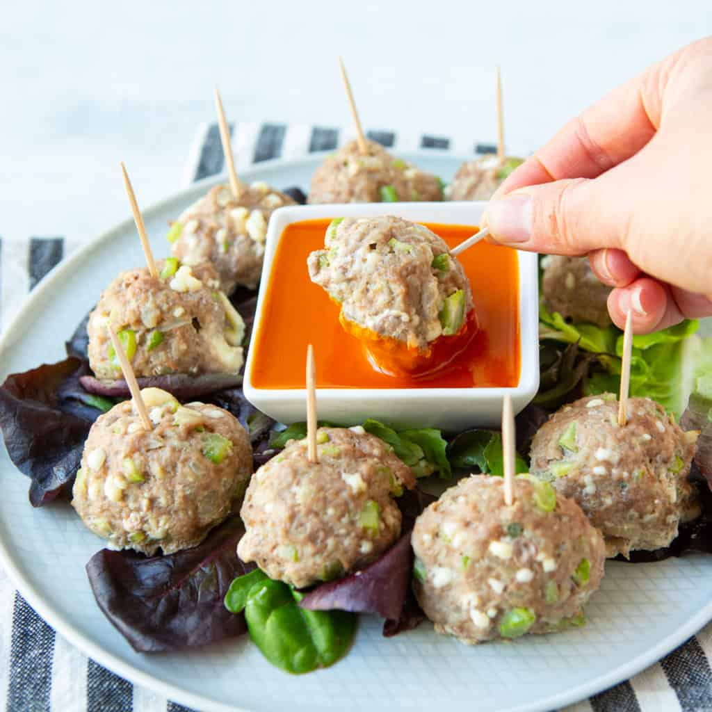 Super bowl make ahead appetizer recipes Buffalo turkey meatballs dipped in sauce