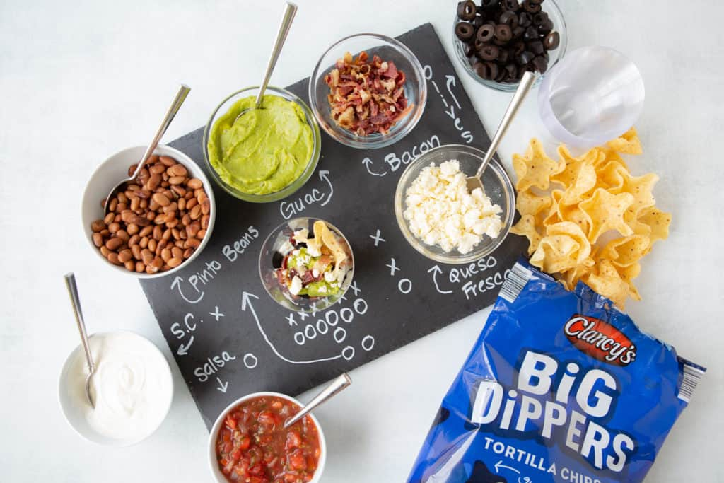 super bowl make ahead appetizers layer dip station