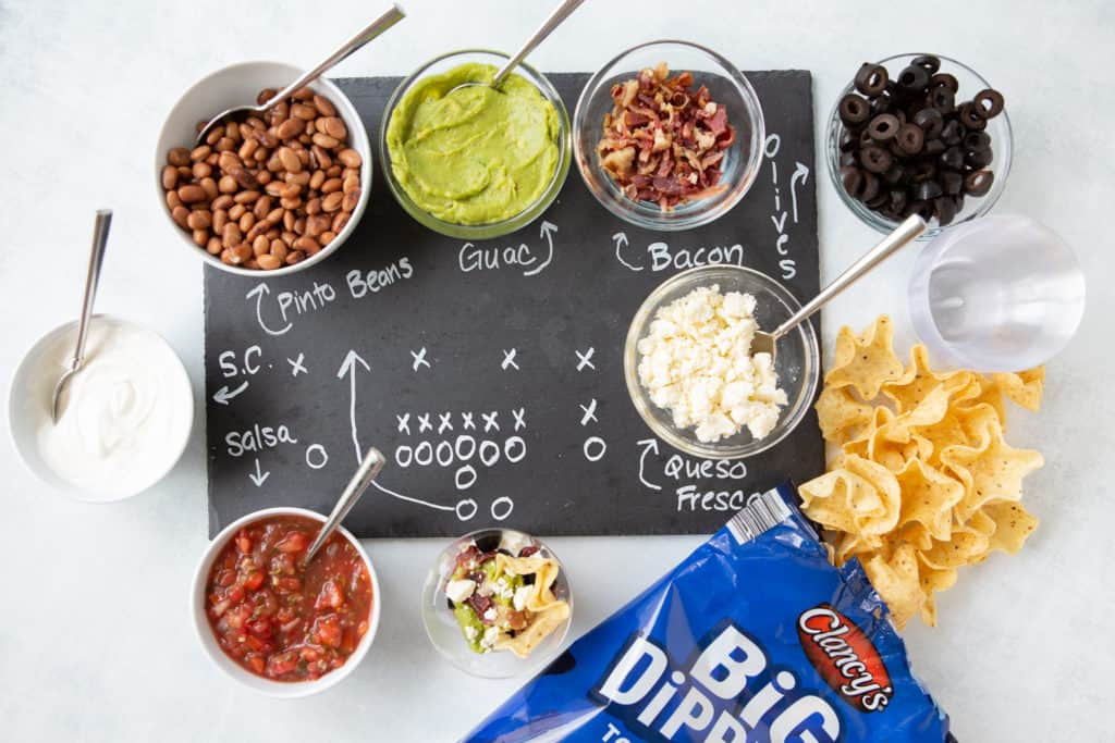 Super Bowl Make Ahead Appetizer Recipes Layer Dip Station with chips