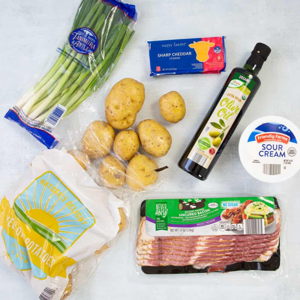Ingredients for potato skins