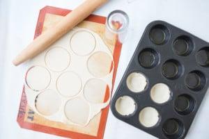 Mini breakfast pies being made