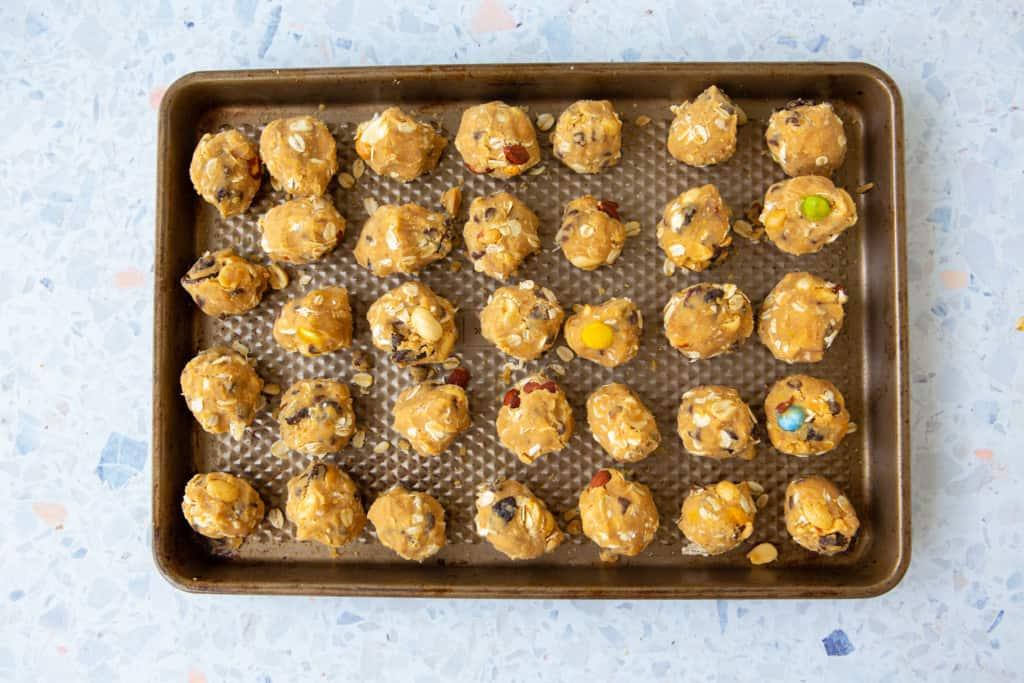 gluten free monster cookie balls scoop into balls