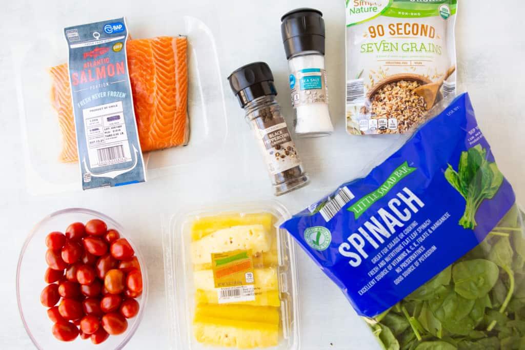 Sheet Pan Salmon Dinner ingredients